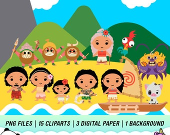 Disney Moana Clipart, Moana PNG, Moana Download, Moana Characters, Moana Transparent, Instant Download, PC02