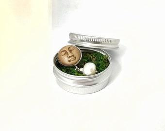 Brooch-talisman with moonface and natural pearl - mascot- moon goddess