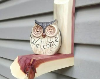 Welcome Owl on cedar logs.