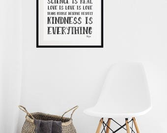 In this house manifesto digital print Black Lives Matter, love is love, women's rights are human rights, science is real, respect trans folx