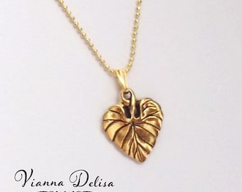 Gold Leaf Necklace - Charm Necklace - Leaf  Charm Pendant Necklace - 18k Gold Plated - Love - Woodland Jewelry - Fine Gold Necklace