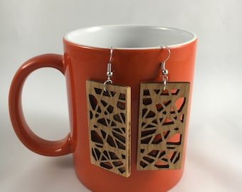 Laser Cut Wooden Earrings (rubber band ball design)