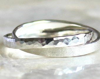 Double Rolling Ring For Him of Hammer Faceted Sterling Silver - Wedding or Promise Ring - Eco Friendly Recycled Silver
