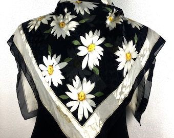 Daisy flower silk scarf vintage scarves gift for her E1 Size 34""