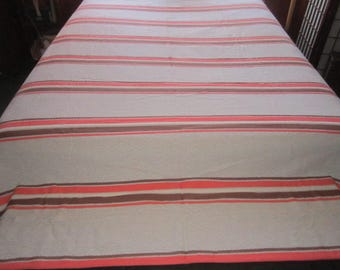 Vintage 1940s Sturdy Woven Cotton 70x99 Bedspread in Striped Brown and Orange Design