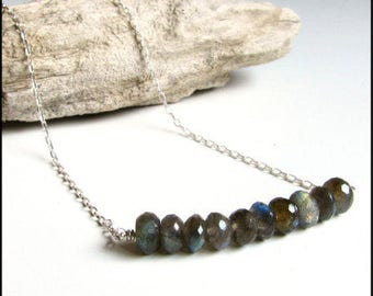 Labradorite gemstone bar necklace gift for wife - Valentine's gift for women - Minimalist jewelry - Gift for her - Layering silver necklace