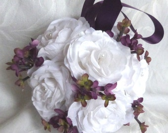 White rose and plum lilac kissing balls rose pomander wedding flower ball