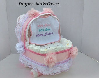 Diaper Cake, Carriage Diaper Cake, Girl Diaper Cake, Shower Centerpiece, Baby Gift, Unique Baby Shower Gift