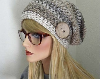 Tan Slouchy Beanie, Striped Slouchy Beanie, Winter Hat, Boho Chic, Neutral colors, Women's Accessory, Slouchy hat with Button
