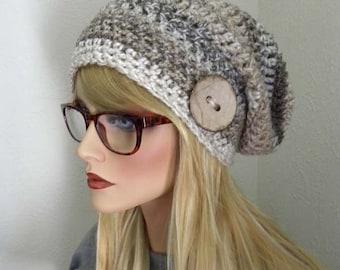 Tuque Tan, bonnet, Tan rayures Tuque, chapeau d'hiver, accessoires pour femmes, cadeaux pour les ados, tuque avec bouton