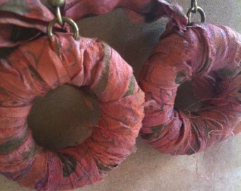 Fiber Earrings Rose Hand Dyed Sari Ribbon Wrapped Hoops