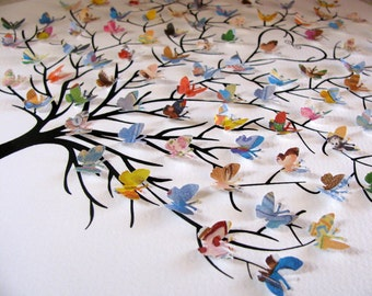 11X14 Tree of 3D Mini Butterflies Upcycled Love You Forever or Your Book Selection / Personalized at Bottom / Made to Order