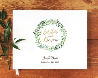 Real Foil Wedding Guest Book #21 - Hardcover - Wedding Guestbook, Custom Guest Book, Personalized Guest Book - Botanical - Calligraphy