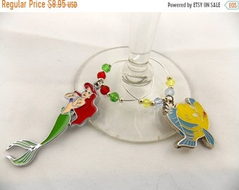 """Wine Charms Set of 2 Disney Inspired """"Little Mermaid"""" Handmade Swarovski Crystal His and Hers - Wedding Birthday Holiday Party"""