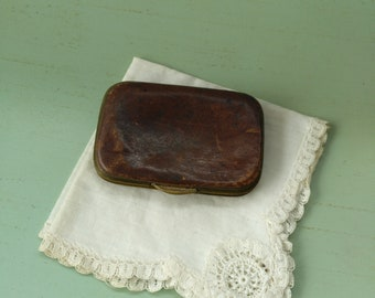 Nineteenth century brass and leather wallet / curiosity