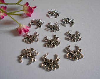 x 10 Spider Web charms 17 x 17 mm silver plated charms