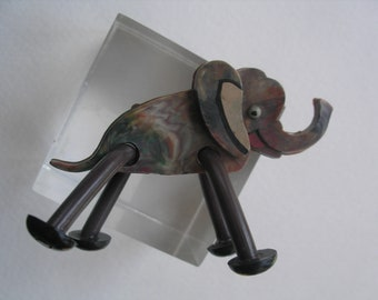 Vintage Mid Century Marbled Celluloid Elephant Pin Moving Legs