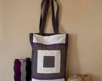 Grey and purple patchwork Tote Bag with geometric motif and purple lace (33x45 cm)