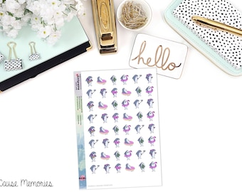KAWAII SHARK SAMPLER Paper Planner Stickers - Mini Binder Sized/3 Hole Punched