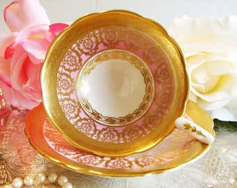 Royal Stafford Gilded Pink Pedestal Cup and Saucer, Raised Gold, English Bone China, Cabinet Teacup, Scalloped Edge, Vintage Tea Ware