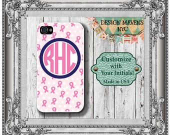 Pink Ribbon Monogram iPhone Case, Personalized iPhone Case, iPhone 4, 4s, iPhone 5, iPhone 5s, iPhone 5c, iPhone 6, 6 Plus, iPhone Cover