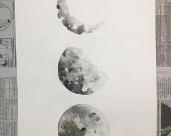 Watercolor Moon Phases (11x15)
