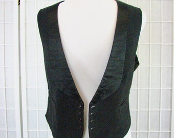 1910/30s Black Fine Wale Corduroy and Satin Tuxedo Vest with Stud Buttons