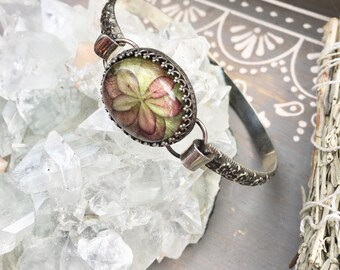 Real Pressed Hydrangea Flower Resin Sterling Silver Boho Botanical Bangle Bracelet OOAK