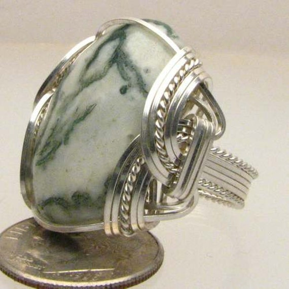Wire Wrapped Ring Handmade Sterling Silver Wire Wrapped Green Tree Agate Ring White and Green