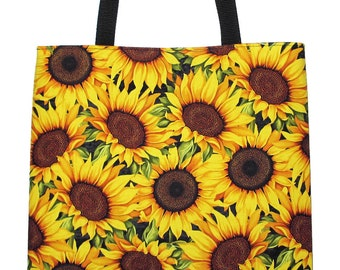 Sunflower Tote Bag, Yellow Sunflowers Carryall Tote Book Bag - Ready to Ship