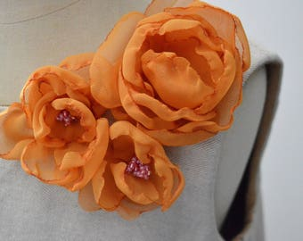 Light Ivory  Flower Girl Dress/  Baby Girl Dress/ Tulle Flower Girl Dress orange flowers