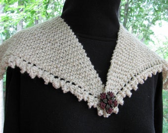 Picot edge knit shawl or collar EASY knitting pattern PDF