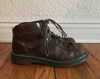 Vintage 1990s Doc Martens made in England Brown Monkey Boots Mens 8 UK 9 US Punk Grunge