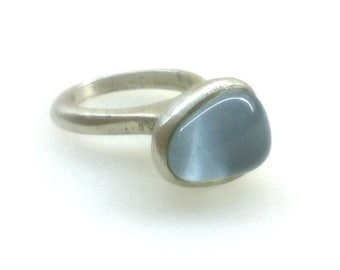 Blue-Grey Glass mosaic Sterling silver Handmade Ring Matte finish - Unique. Contemporary Design.