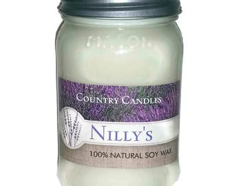 Vegan 16oz. Mason Jar Candle- PICK YOUR SCENT - Natural Soy Wax - Free of Dyes- Vegan Candles