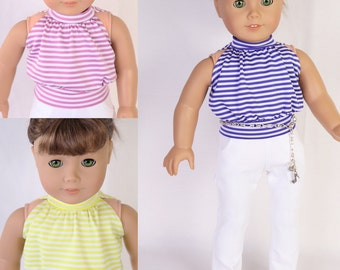 Made to fit like American Girl Doll Clothes, MODERN RESORT - Halter Top, White Denim Trousers, Silver Ballet Flats & Charm Chain Belt