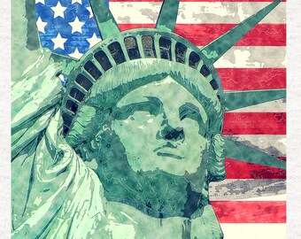Statue Of Liberty.  Fabric Panel | | Sewing | Craft | Printed Fabric Panels