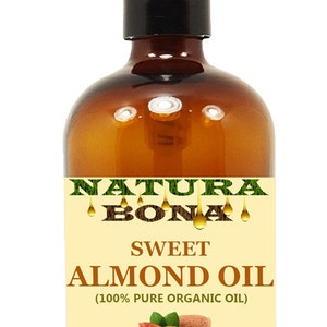 Organic Sweet Almond Oil 16 oz Pump Amber Glass Bottle - 100% Pure Cold-Pressed - Use for Aromatherapy, Skin & Hair Moisturizer