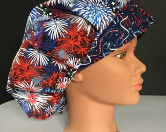 9eff45543f7 inexpensive red white and blue fireworks bouffant surgical hat 8124e 00fd4