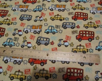 1.5 Yards/54 x 42 Inches Yellow  Car/Truck/Bus/Vehicle/Honk Cotton Fabric