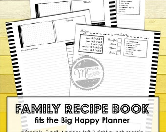 Recipe planner Big Happy Planner Big Printables, letter size, Menu planning with family recipes binder, Create 365 me & my big ideas