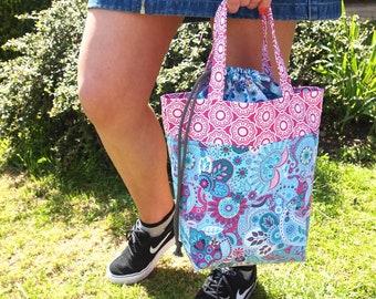 Project Bag, Small Knitting Bag, Crochet bag, Yarn bag, Drawstring Toe, Knitting Tote, Tote Bag, Lunch Bag