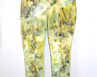 ice dye tie dye recycled jeans sulfur yellow
