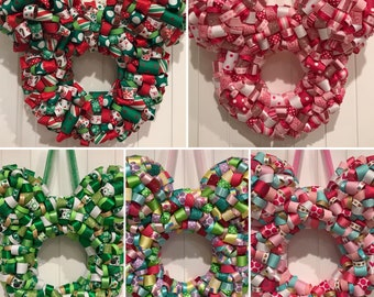 Mickey Shaped Ribbon Wreath All Holidays available Year Round! Christmas, Halloween and More. All Sports teams, Custom colors FREE Shipping!