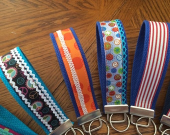 Wristlet key fob, handmade with ribbons and trim