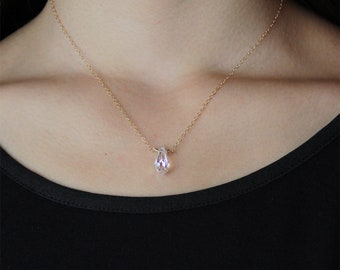 14K Gold Filled Swarovski Crystal Aurora Borealis Faceted AB Teardrop Necklace Modern Layering Jewelry Christmas Best Friend Bridesmaid Gift