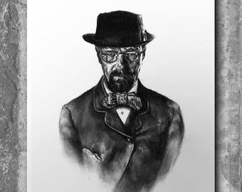 Breaking Bad, Wall Art, Fandom,Heisenberg, Cubicle Decor, Breaking Bad Poster, Drawing, Breaking Bad Gifts, Walter White, Pencil Portraits