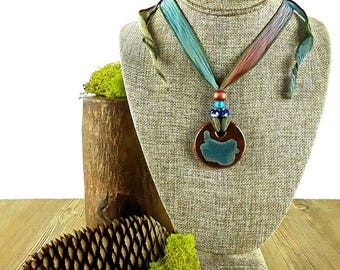 Mahogany Dusk Ceramic Necklace: Maroon Necklace/ Fall Necklace/ Handmade Necklace/ Bohemian Jewelry/ Lilah Flores Creations