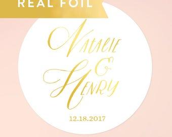 Gold Foil Wedding Favor Stickers, Gold Wedding Stickers, Foil Stickers, Wedding Stickers, Names Personalized Foil Stickers, SET OF 20