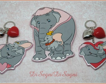 Key ring and giant DUMBO and mom magnet-unique pieces cut and hand painted for Mother's Day